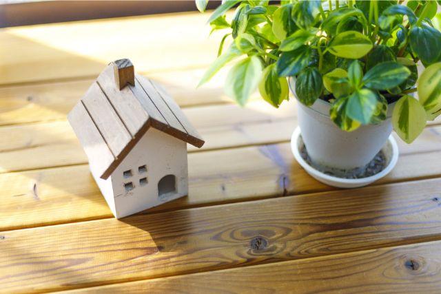 木の床に置かれた植物と家